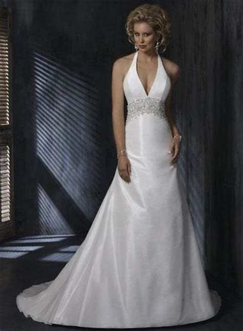 Halter top Beaded A line Silhouette Taffeta Wedding Gowns