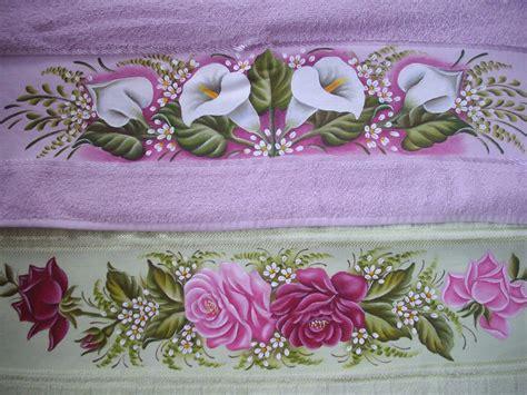 cenefas de flores para pintar en tela toalhas de banho pintadas cenefas para toalla