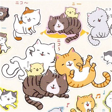 Beautiful Christmas Toys For Cats #9: Funny-smiling-cats-stickers-from-Japan-165978-1.jpg
