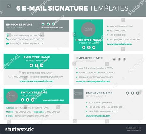 Set 6 Flat Modern Email Signature Stock Vector 594867401 Shutterstock Modern Email Signature Templates