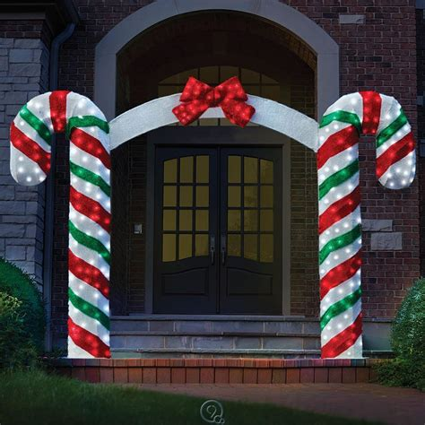 the illuminated candy cane archway prelit outdoor