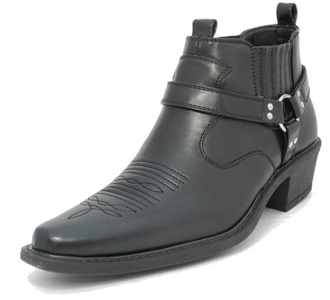 mens low boots mens us brass wayne black leather look cowboy cuban heel