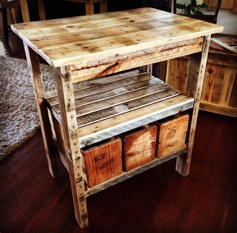 pallet kitchen island rustic pallet kitchen island with 3 x vintage style 1 2 bushel