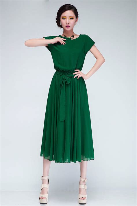 Pleted Black Dress Brokat fashion pleated o neck sleeves green chiffon mid