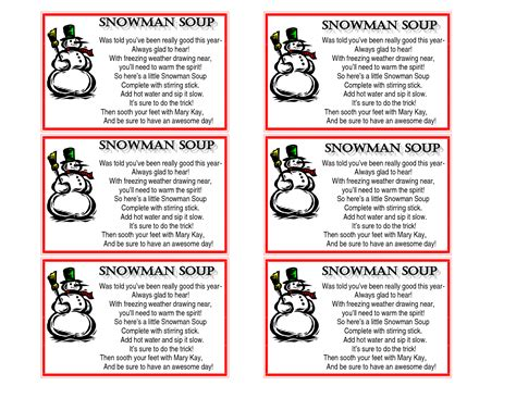 printable soup recipes 6 best images of free printable snowman soup labels