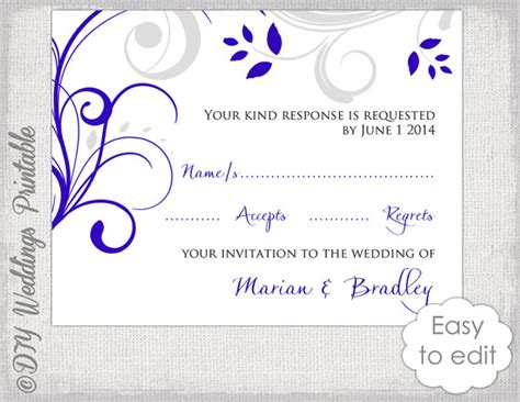 wedding response card template response card template diy royal blue silver gray