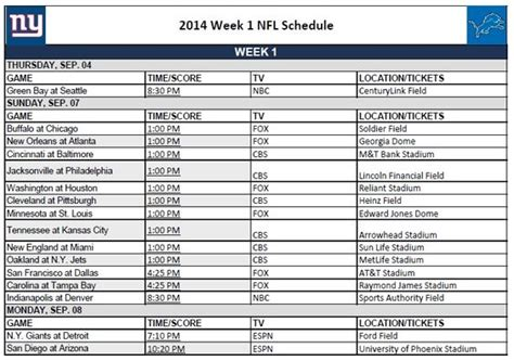 printable nfl league schedule printable nfl schedule week 1 national football league