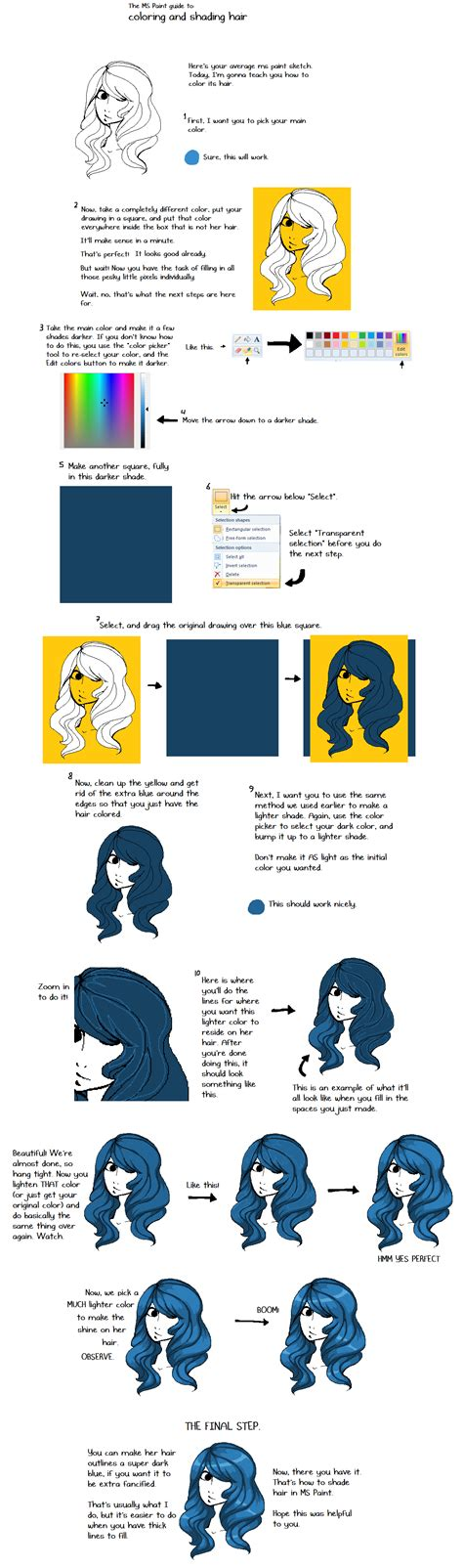 in the tutorial tutorial shading hair ms paint by sergle on deviantart