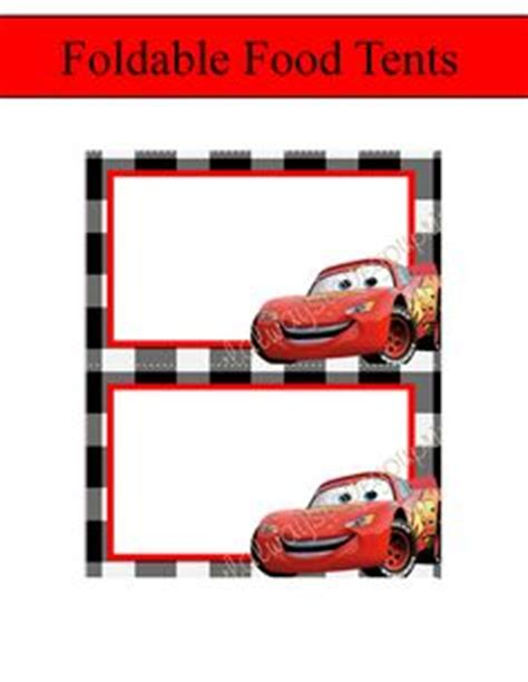 free printable birthday cards lightning mcqueen disney cars food tents chalkboard cars food labels