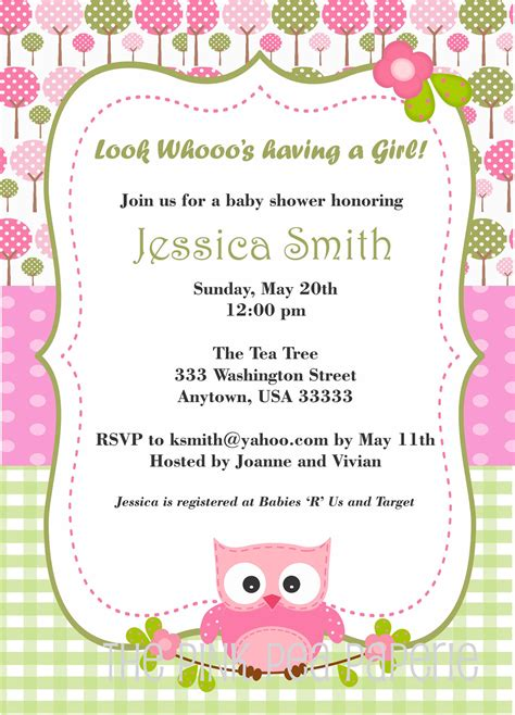 owl themed baby shower invitation template owl baby shower invitation with pink and green by