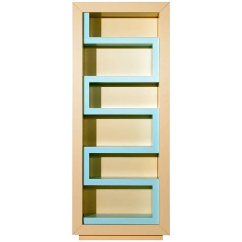 contemporary beige and aqua lacquer bookshelf
