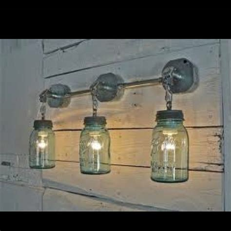 Diy Bathroom Light Fixtures Diy Jar Lights Bathroom Light Fixture Idea Bathroom Pinterest Jars Light