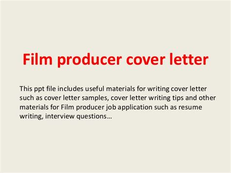 Executive Producer Cover Letter by Producer Cover Letter