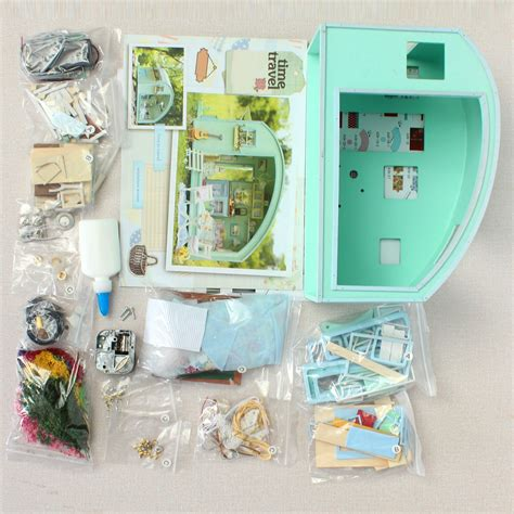 handmade dolls house miniatures cuteroom diy wooden dollhouse miniature kit doll house led