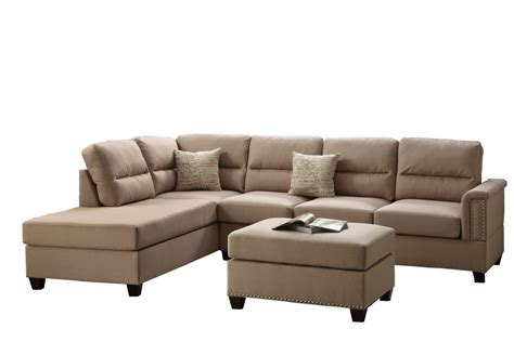 left sectional poundex f7614 bobkona toffy linen like left or right hand