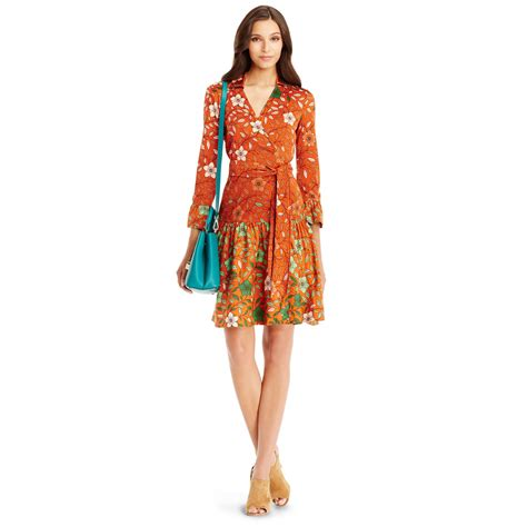 Dvf Dresses by Diane Furstenberg Dvf Sylvia Silk Combo Wrap Dress In