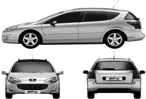 peugeot 407 wagon car blueprints 2009 peugeot 407 break wagon blueprint