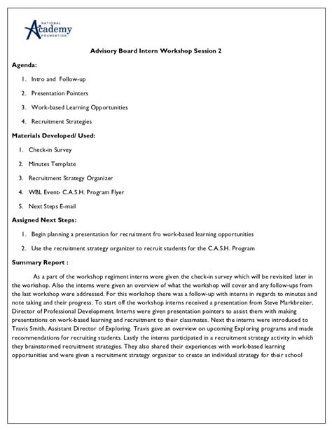 Implementing An Advisory Board Internship Program At Your Academy H Internship Project Plan Template