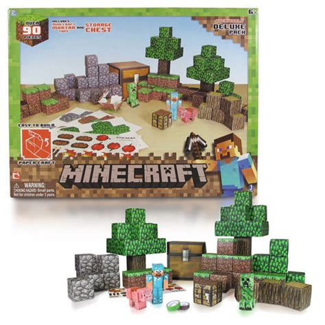 Minecraft Papercraft Overworld Set - minecraft papercraft overworld deluxe set 90 pack