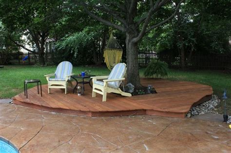Backyard Deck Ideas Ground Level Small Deck Tree Backyard Trees