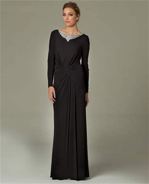 boat neck dress formal formal sheath boat neck v back long sleeve black occasion
