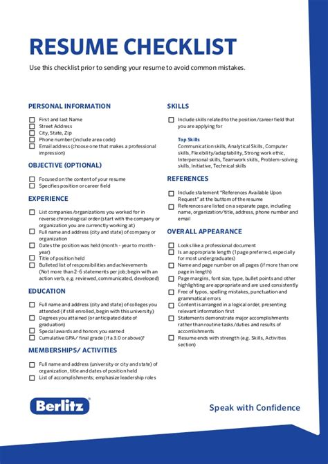 Resume Tips To Avoid Berlitz Tip Resume Checklist
