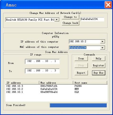 Search Network For Mac Address Filegets A Change Mac Address Screenshot Change Mac Address In Seconds Scan Remote
