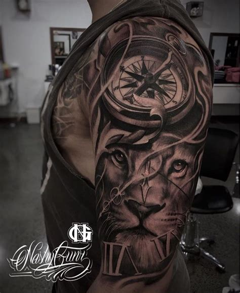 lion arm tattoo designs clock half sleeve sleeve tattoos