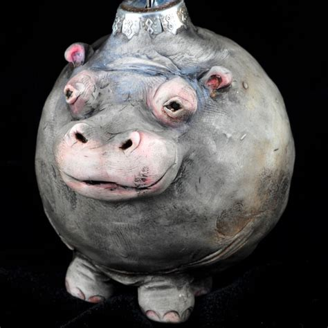 reserved for vadim hippo vintage style ornament and