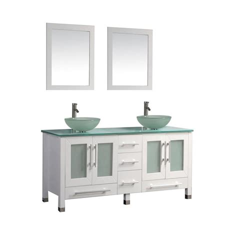glass top vanities bathrooms shop mtd vanities white double vessel sink bathroom vanity