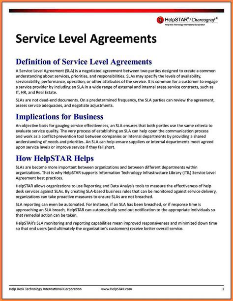 itil service level agreement template 8 service level agreement template purchase