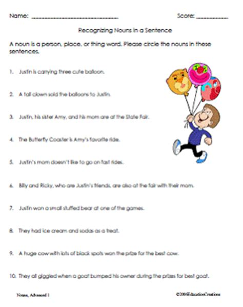nouns worksheet samples education creations