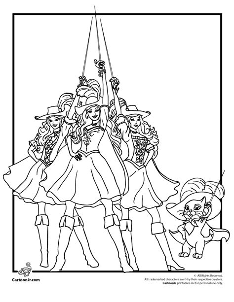 Barbie Musketeers Coloring Pages | barbie 3 musketeers coloring pages coloring home