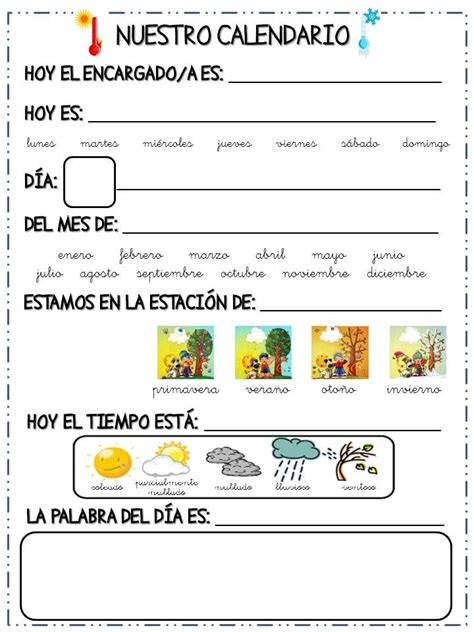 Calendario Cancion 1000 Ideas Sobre Calendario Preescolar En