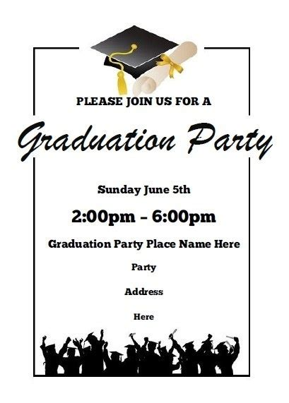 free word templates for graduation invitations free graduation party invitation templates for word
