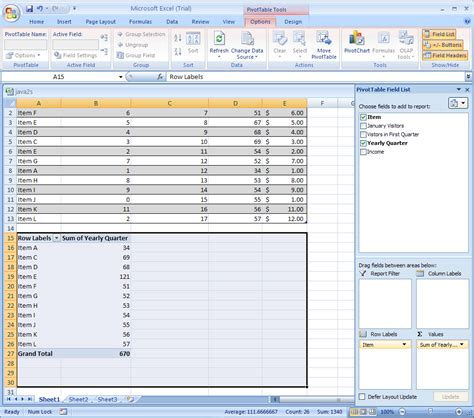 tutorial to excel 2007 create a pivottable or pivotchart report pivottable