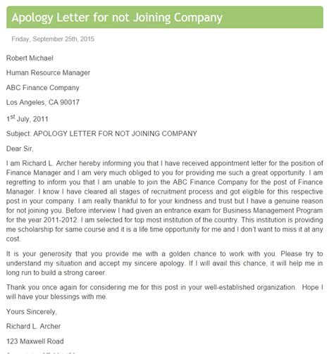 Apology Letter To For Late Joining Apology Letter For Not Joining Company Template Archives Free Sle Letters