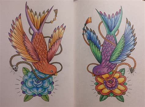 megamundens the tattoo colouring book twin birds by