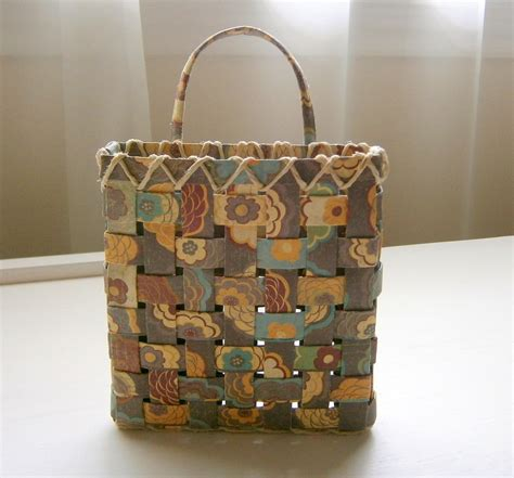 Paper Baskets - woven paper basket brown floral pattern handmade