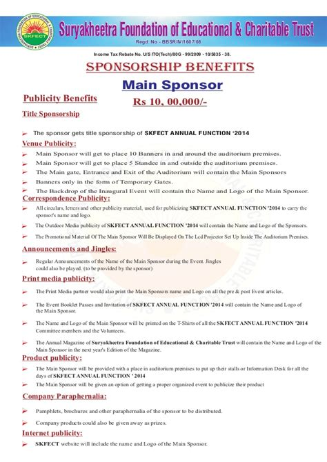 Sponsorship Letter Benefit appeal letter for annual day function of mos skfect 2014