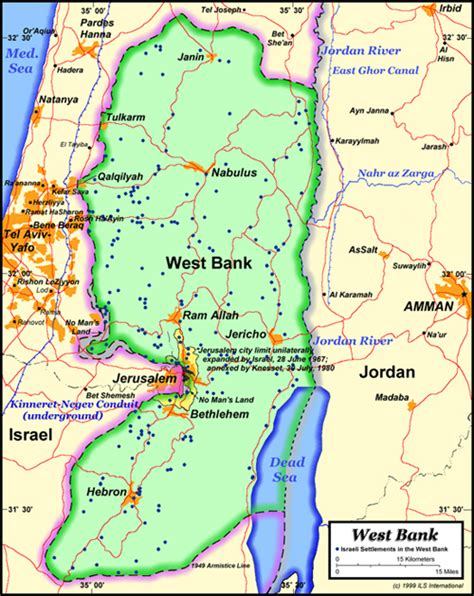 wast bank map west bank