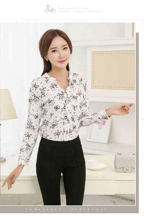Atasan Putih baju atasan putih motif bunga terbaru model terbaru jual murah import kerja