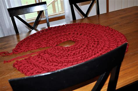 deep red tree skirts rustic crochet tree skirt yarn makes a one of a tree skirt