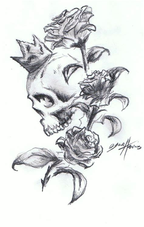 skull n roses tattoo design by paramajamas on deviantart