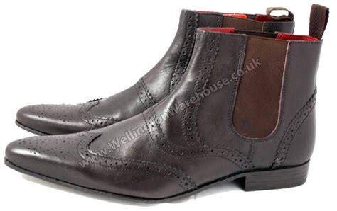 pointed toe boots mens mens leather pointed toe chelsea boots brown pull