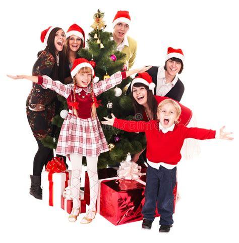 child and petprof xmas tree children in santa hat tree stock photo image 11588450