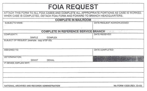 foia request template sle completed na form 13028 foia request