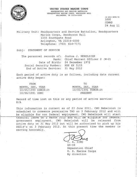 Army Statement Of Service Letter Exle usmc statement of service