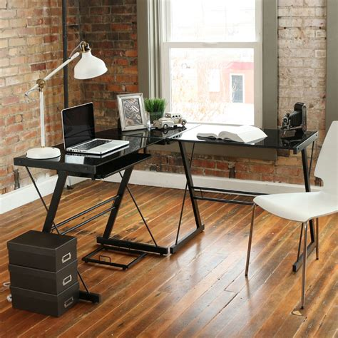 Walker Edison 3 Piece Soreno Desk Black With Black Glass Walker Edison Soreno 3 Corner Desk