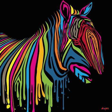 colorful zebra the artist has used black as the background to make the